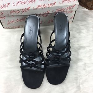 Lord & Taylor Black Strappy Formal Heels 7.5M